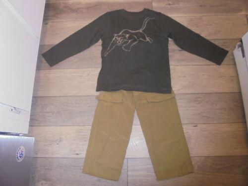 Gymboree Wilderness Club beige pull on pants & matching green lion shirt boys 6