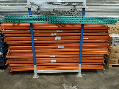 Tear Drop Pallet Rack Lot - Two 48x8 Upright Four 8 Beams And 4 Wire Decks