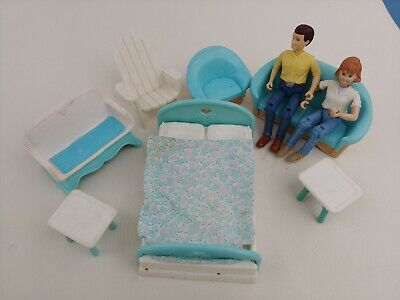 Fisher Price Loving Family Dollhouse Furniture lot #2 bed couch outdoor