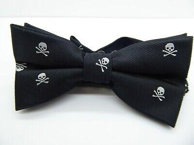 Skull & Bones Black Bow Tie Butterfly Cravat - Halloween Bow Tie