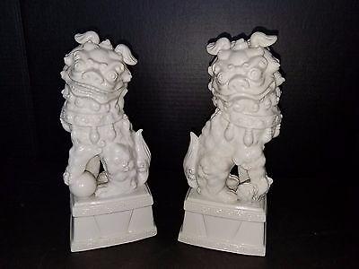 Chinese Oriental Serv ware Rubel  White Porcelain Fu Foo Dogs Lions Pair Rare