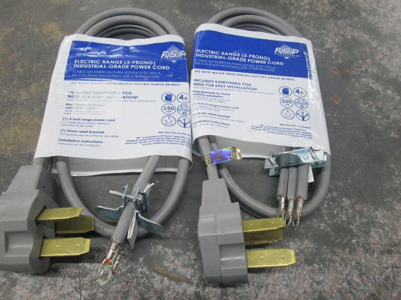 2PCS FSP ELECTRIC RANGE  INDUSTRIAL-GRADE POWER CORD NEW