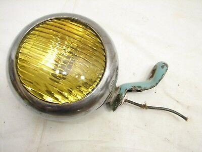 Vintage US Pioneer 141 Fog/Driving Light Amber Lens Chrome Round Rat Rod Tractor