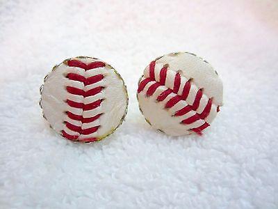 - Baseball Leather Ball Stitch Cufflinks Novelty Vintage Rare