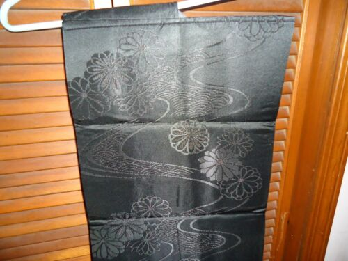 NOS JAPANESE NAGOYA OBI SASH EMBROIDERED BLACK LIGHT SATIN FLOWERS GARDEN PATH