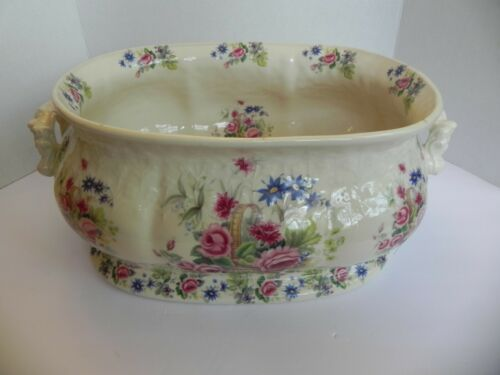 Antique English Ironstone Transferware Foot Bath Flowers Roses