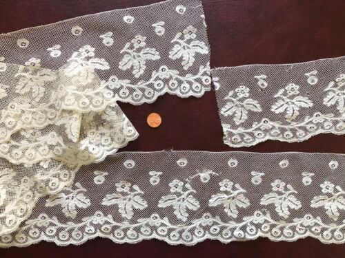 Unusual matched handmade Valenciennes bobbin lace edging - COLLECT COSTUME