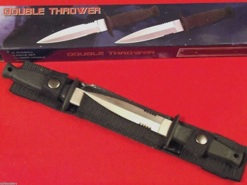 "Double Thrower 210233 Black Rubber handle 2 pc dagger belt knives 7"" overall NEW"