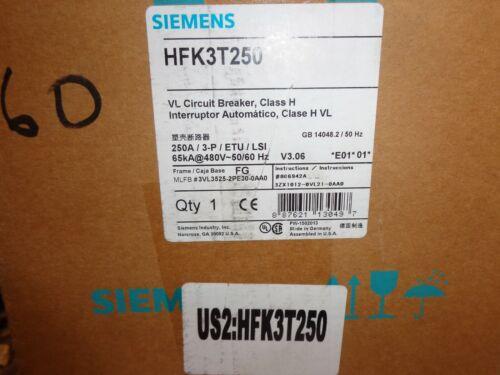 NEW IN BOX SIEMENS FG FRAME, TYPE HFGB CAT# HFK3T250 CIRCUIT BREAKER W/ L,S,I.
