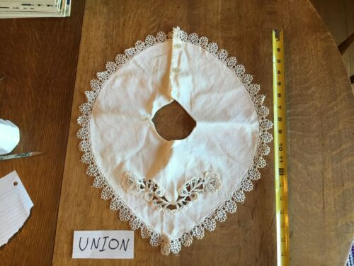 Beautiful Vintage Lace Layover Collar Embroidery Cutwork Union Made