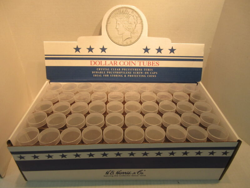 Box of 100 Silver Dollar Round Coin Tubes Morgan Peace Eisenhower 38mm