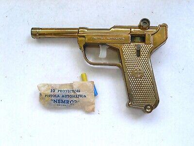 Vintage Nemrod PISTOLA AUTOMATICA Gold Toy Gun Pistol 1960's Spain, usado segunda mano  Embacar hacia Mexico