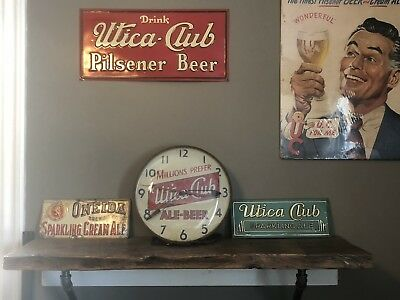 Utica Club Beer Ale Brewery New York RARE Pam Clock Glass Sign Original Only One