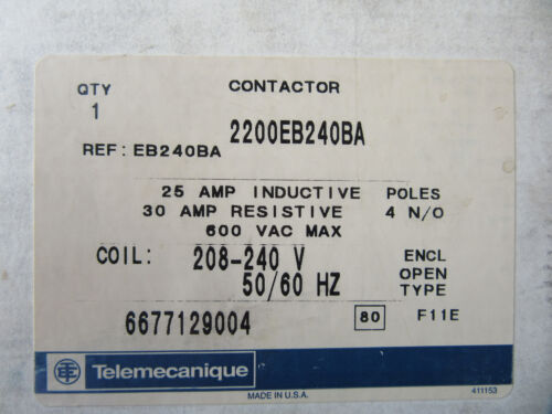 Gould Telemecanique 2200EB240BA Contactor 4P 25A 240V Coil EB240BA NEW!!! in Box