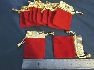 20 Sturdy 2.5 X 3.5 Velvet Red Wgold Trim Pouch Bags - Wedding Favors Jewelry