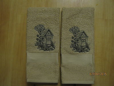 - New 2 OUTHOUSE Hand Towels,Northwoods cabin decor, bathroom, kitchen