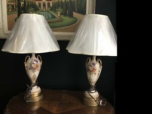 Antique French Limoges lamp pair