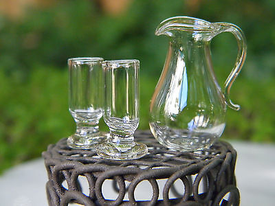 Miniature Dollhouse FAIRY GARDEN Accessories ~ Glass Pitcher & 2 Glasses ~ NEW