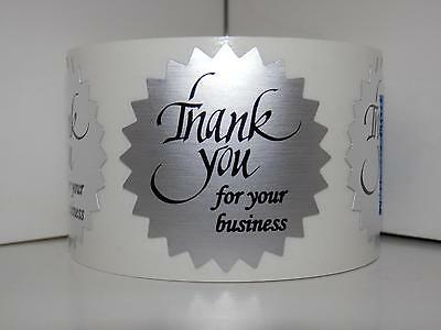 Thank You For Your Business Label Sticker 1.5 Starburst Dull Silver Foil 250rl