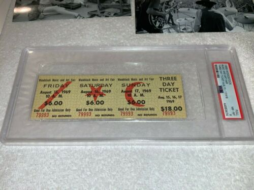 WOODSTOCK 1969 PSA  MAIL ORDER $18 ORIGINAL 3 DAY TICKET PASS Jimi Hendrix USA