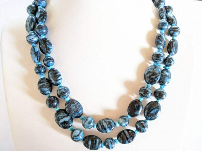 Vintage Sterling 925 DTR Mine Finds by Jay King Picasso Agate Turquoise Necklace