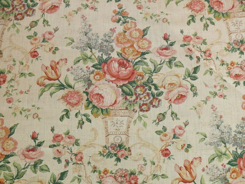 BTY LEE JOFA ASHURST PEONY TULIP LILAC ROSE100%LINEN PRINT ON ECRU MSRP$139