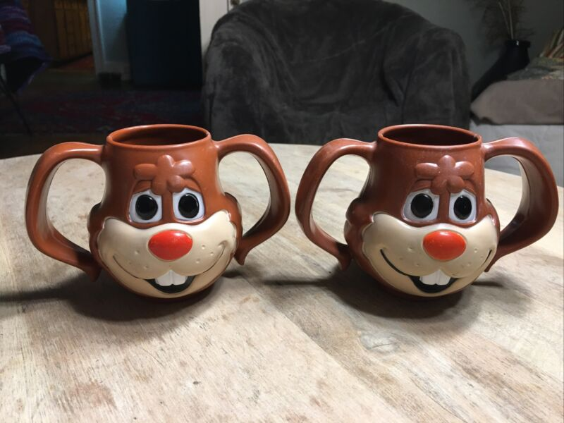 Vintage Nestle Quick Rabbit Mug Two Handle Cup Chocolate Milk Quick- Bunny Set