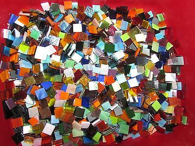 MIXED Glass Mosaic Tile Hand cut all colors & textures 100+ glass 1/2