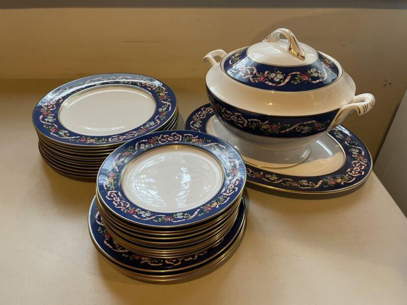 Vintage Spode Dinner Plate Serving Platter Soup Tureen Set Ribbons and Roses