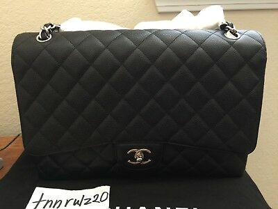 Authentic Black Caviar CHANEL Maxi Classic Single Flap Handbag Silver CC Mint