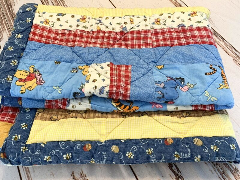 "Handmade Winnie the Pooh Baby Blanket Quilt Honey Bees Plaid & Gingham 36""x51"""