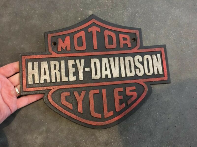 "Harley Davidson Garage Cast Iron Sign 13"" Solid Metal Patina Texaco Sinclair Vg"