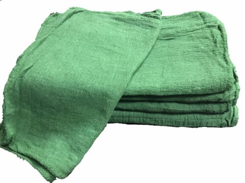50 NEW INDUSTRIAL COMMERCIAL SHOP RAGS / CLEANING TOWELS GREEN 14x14