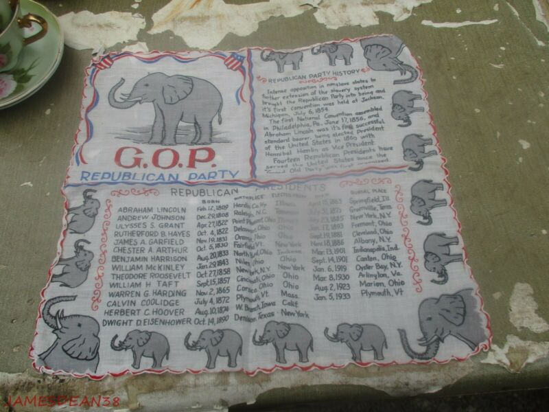 Vintage Political Collectible GOP Republican Party President Handkerchief 1930S