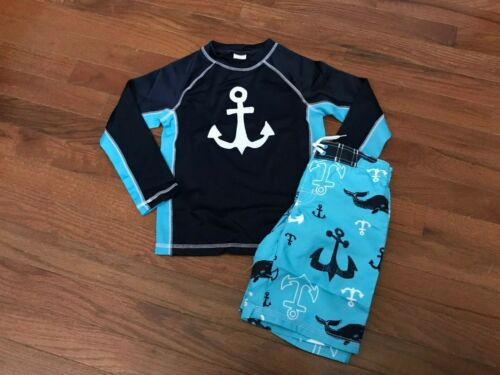 NWT Gymboree Boys Navy Anchor Rashguard and Blue Board Shorts Size 4 4T and 5 5T