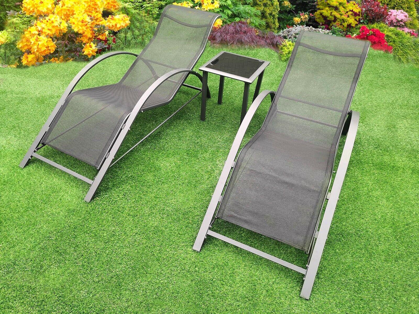 Garden Furniture - 3pc Black Ergonomic Sun Lounger Set + Side Table Chaise Outdoor Garden Furniture