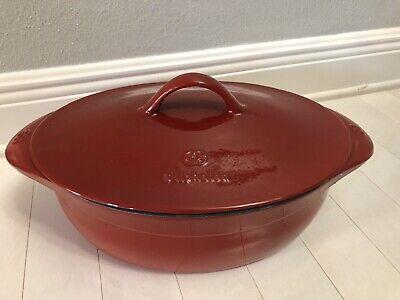 Calphalon Cabernet Red Enameled Cast Iron Dutch Oven 8 Quart Pot w/Lid New 8 Quart Oval Cast
