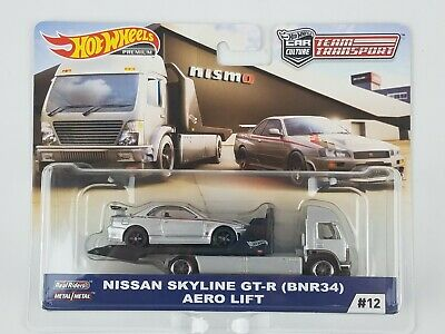 2019 Hot Wheels Team Transport Car Culture Nissan Skyline GT-R & Aero Lift