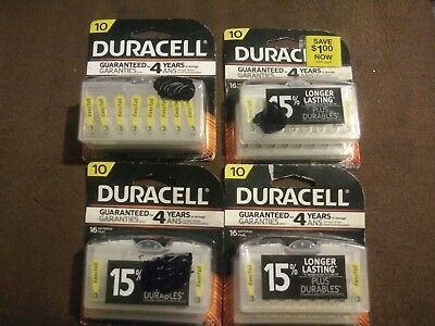 72 Size 10 Duracell Easy Tab Hearing Aid Batteries Expire 03/2018+ (4 Packs) NIP 4 Duracell Easy Tab