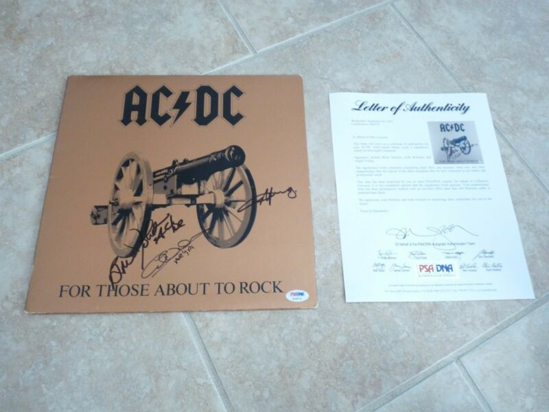 AC/DC Angus Young Brian Johnson Cliff Williams Signed Autograph LP PSA Certified