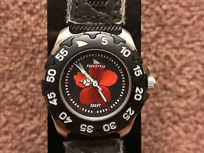 Black Bezel Watch - Freestyle Watch Black SS Case Black Bezel Red Flower Dial New Battery Runs Great