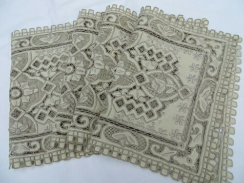 SET 4 Vtg Antique Chee Foo Placemats Embroidery Cut Work Lace Natural Linen