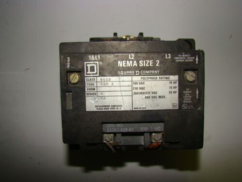 Square D 8502SD02 Motor Starter, Nema Size 2, Used