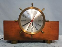 VTG ART DECO O.B. McClintock Co. plug in Nautical Ship Wheel Mantel Clock