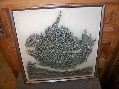 Vintage India Deity God Framed Rubbing