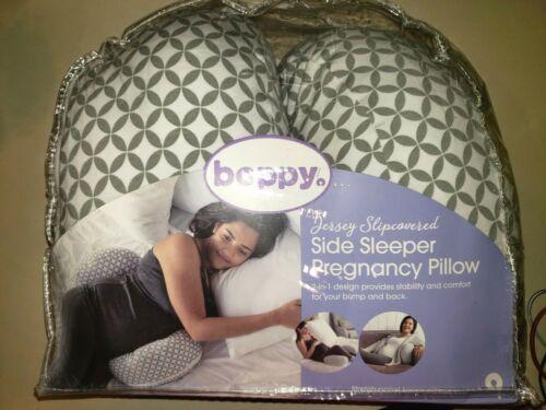NEW JERSEY SLIP COVERED SIDE SLEEPER PREGNANCY PILLOW BOPPY white gray SOFT @@