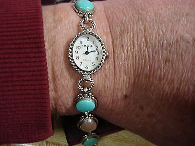 CORAZON -RELIOS STERLING WRISTWATCH W/ TURQOISE & MOTHER OF PEARL NEW