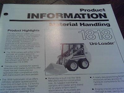 Case Skid Steer Sales Brochure Original 1818 Tractor Uni Loader