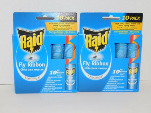 Fly Ribbon Sticky Tape by Raid TWO 10 Packs Flying Insects