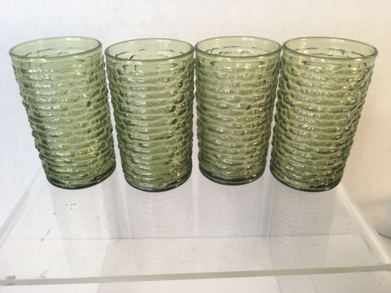 "Vintage Lot of 4 ~ MCM Soreno Avocado Green Juice Tumblers 4"" Tall 2"" Mouth"